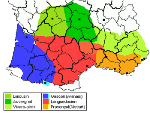 La/e lingua/e d´oc. A sinistra il guascone. Nella Catalogna la varietà guascona, chiamata aranese, è assieme al catalano e al castigliano lingua ufficiale - http://upload.wikimedia.org/wikipedia/commons/thumb/2/27/Occitan-Dialects.PNG/350px-Occitan-Dialects.PNG